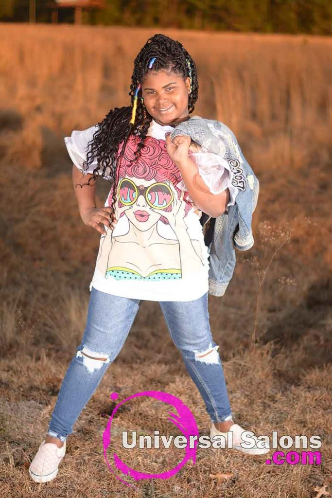 Model Standing Wearing Faux Locs Kid's Hairstyle