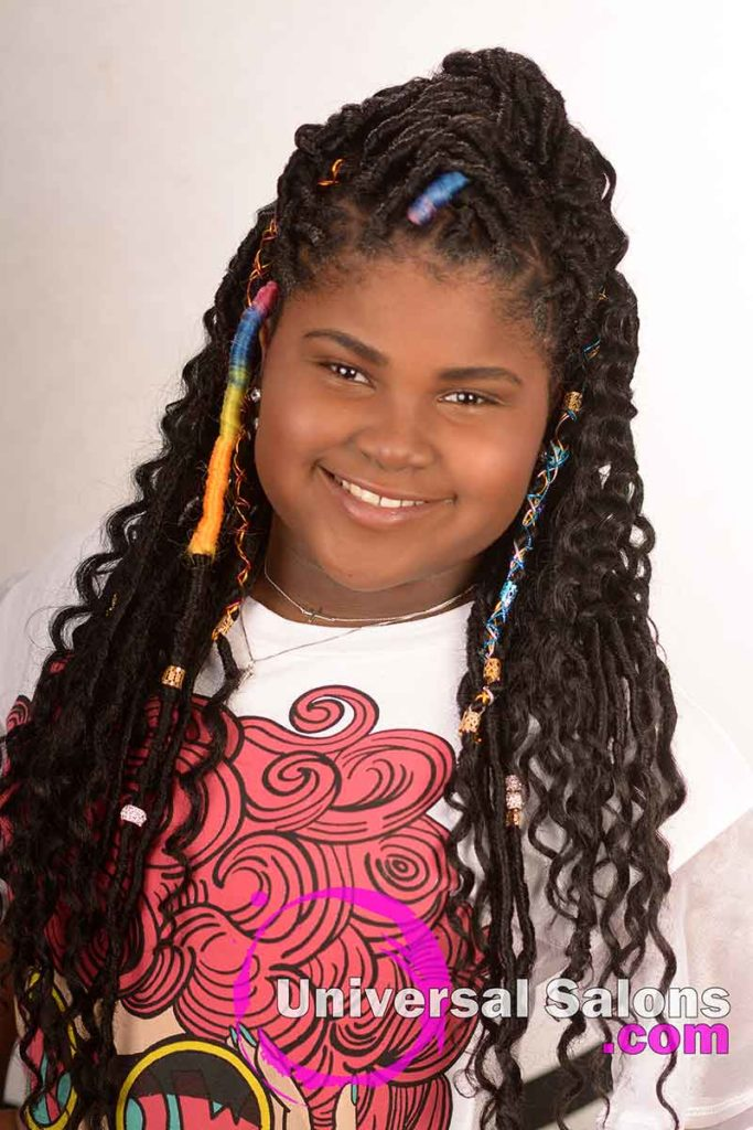 Long Faux Locs Hairstyle for Kids