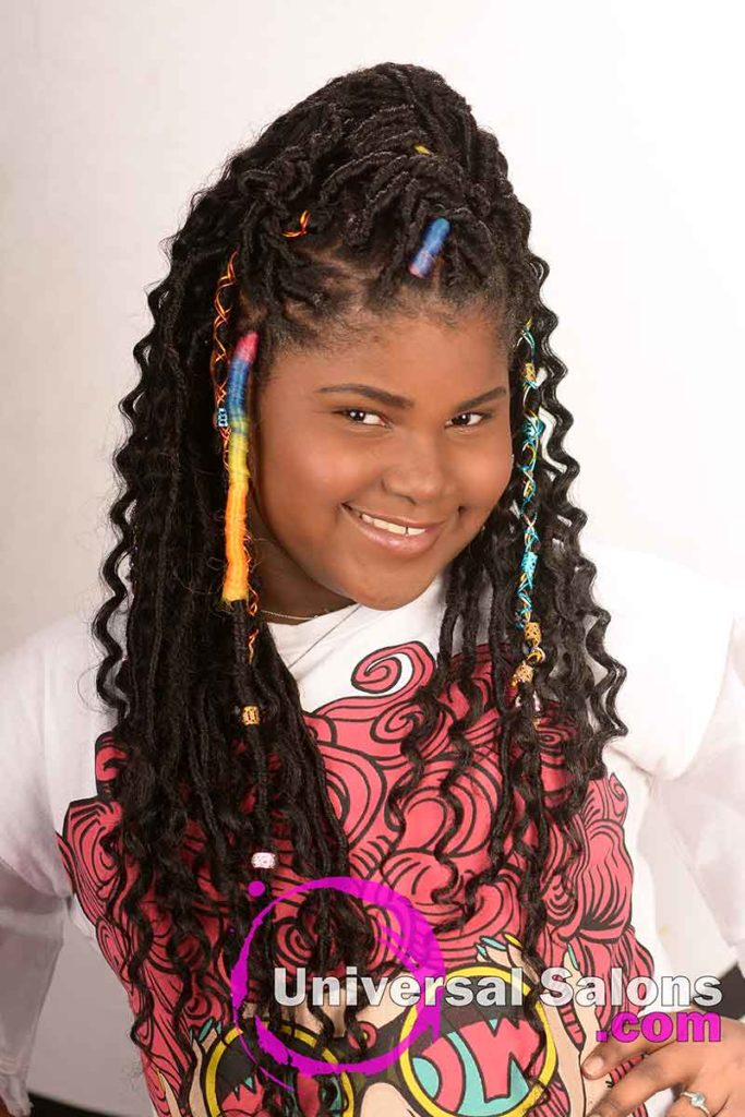 Model Smiling With Faux Locs Kid's Hairstyles