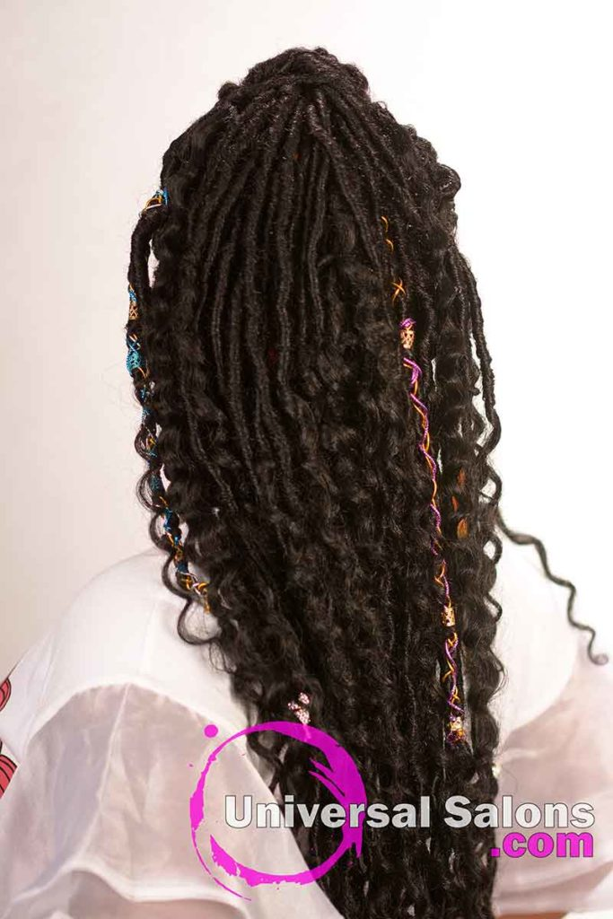 Back View of Faux Locs Kid's Hairstyles