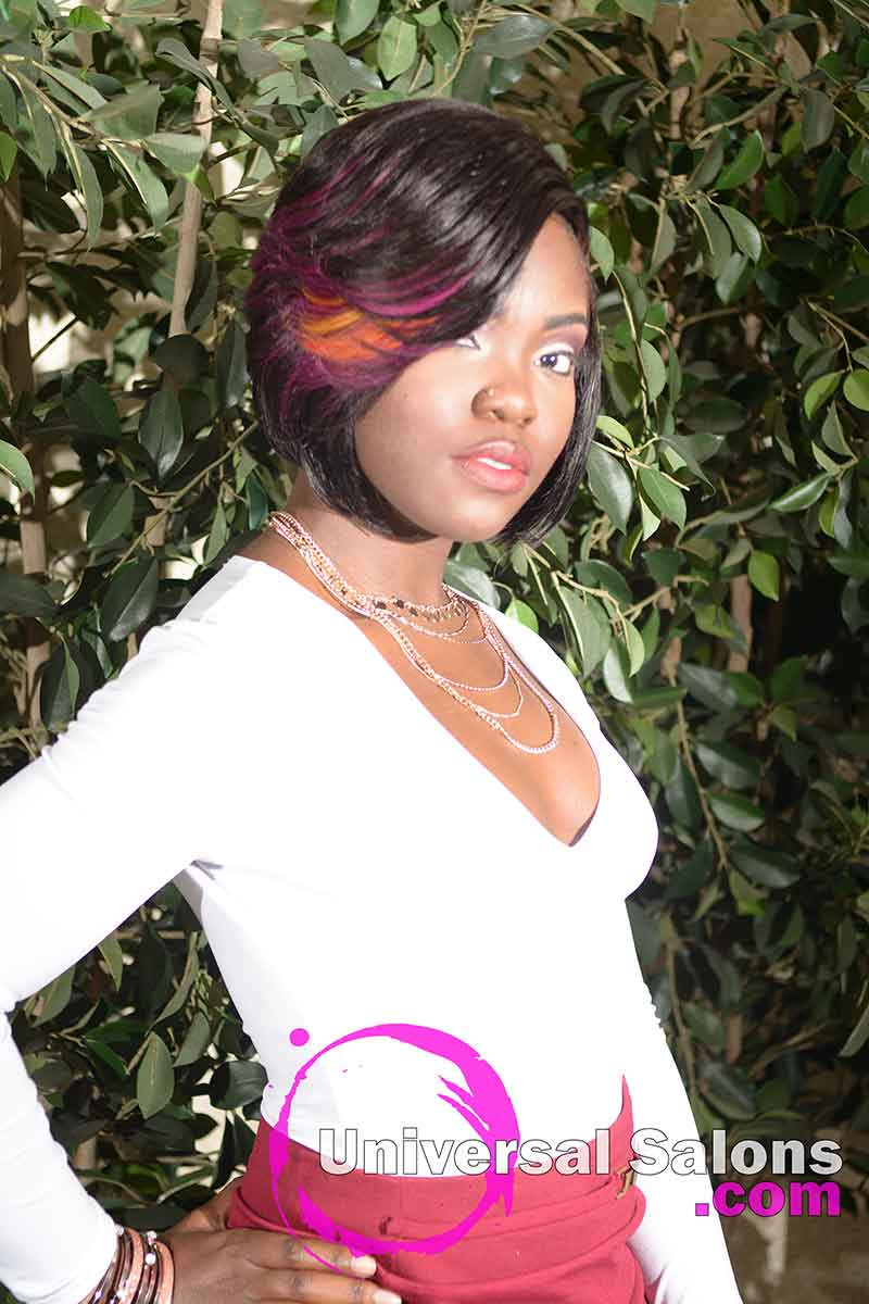 Model Standing With Quick Weave Bob and Color Splashes