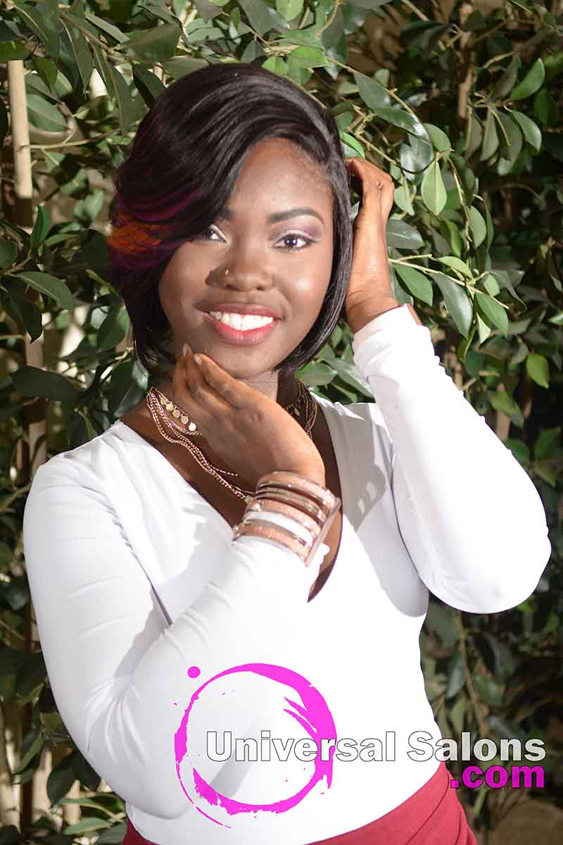 Model With Hands in Hair Quick Weave Bob With Closure