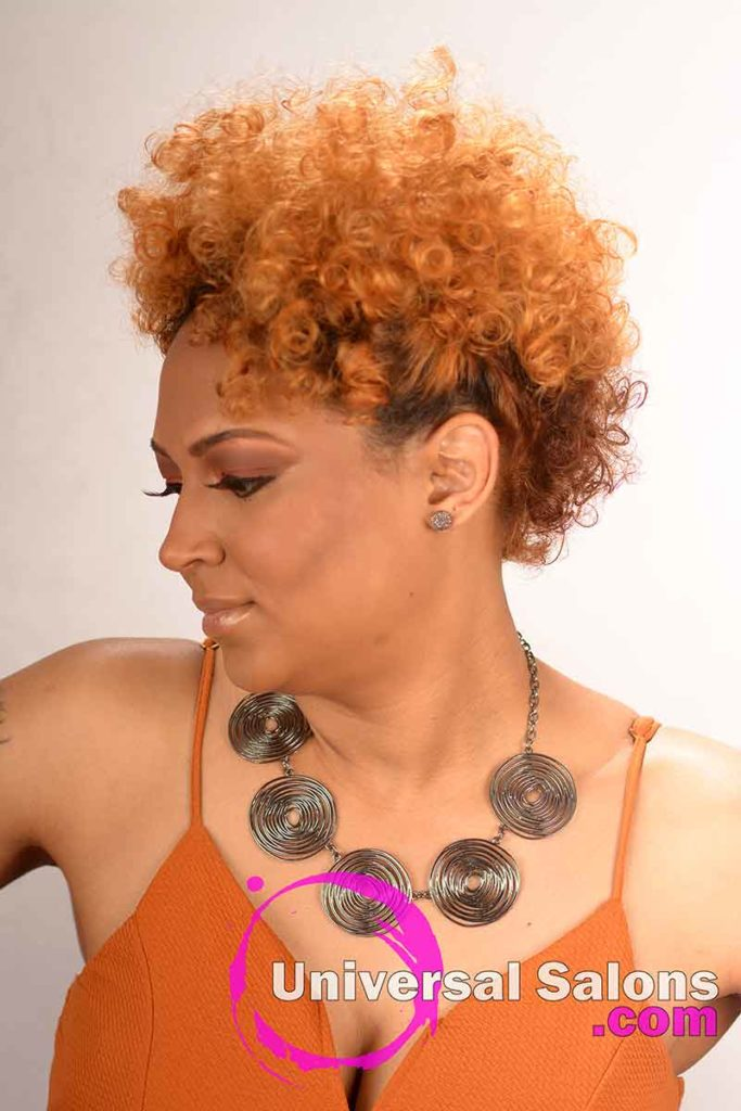 Right View of a Curly Ginger Hair Color for Black Women