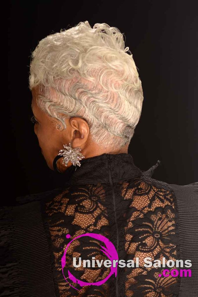 Back View of Finger Waves on Silver Hair