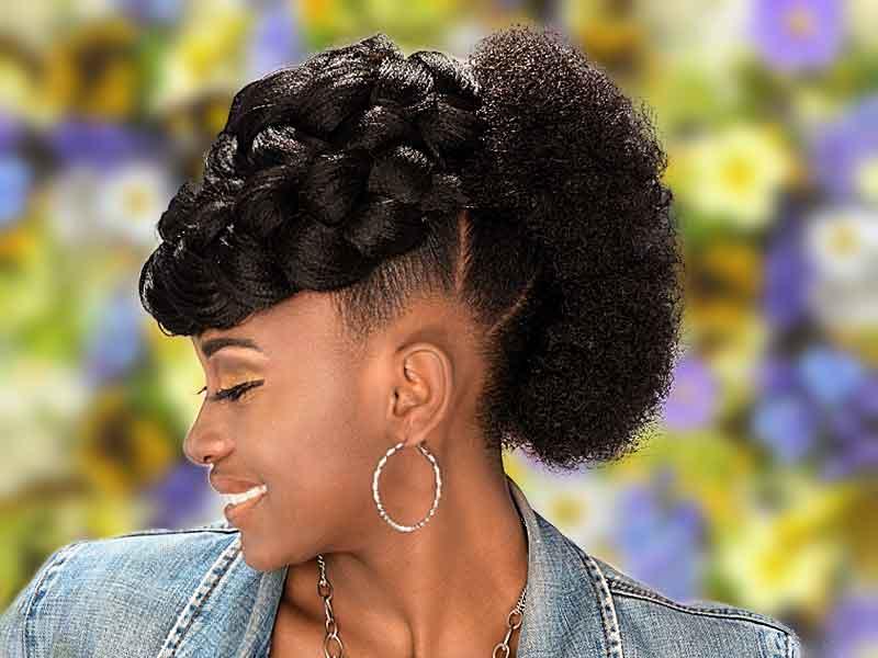 Goddess Braid & Afro Mohawk Hairstyle