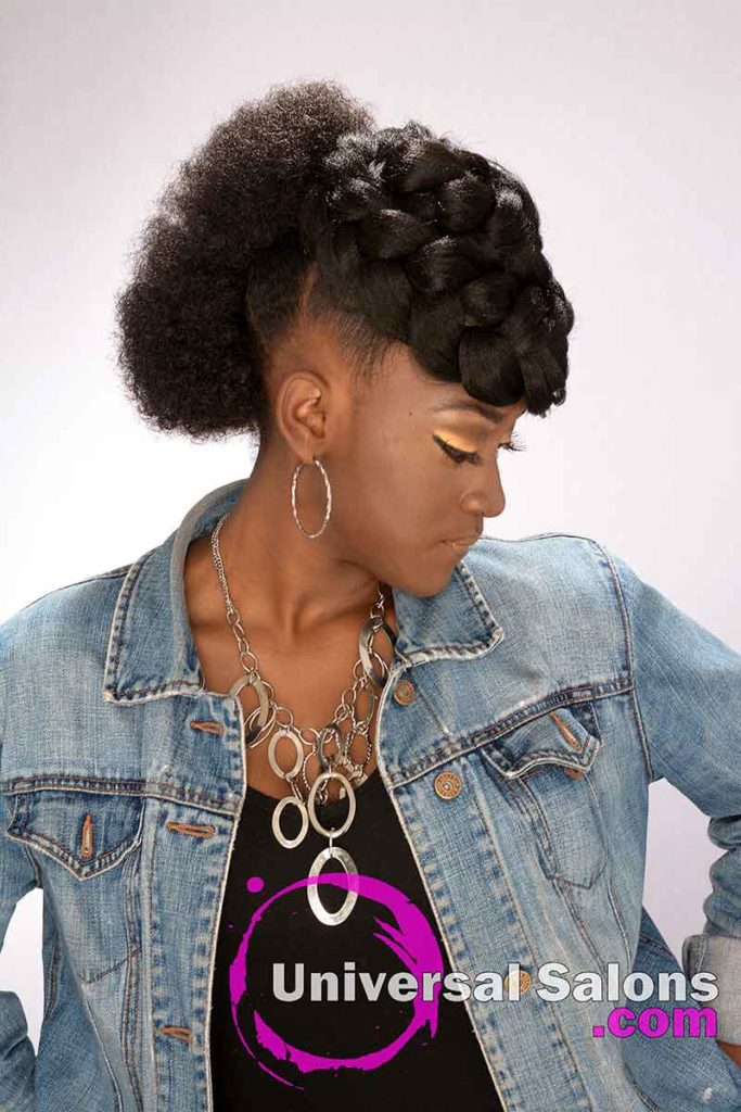 Model Looking Down Goddess Braid & Afro Mohawk Hairstyle