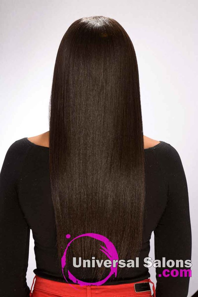 Back View Long Silk Press Hairstyle