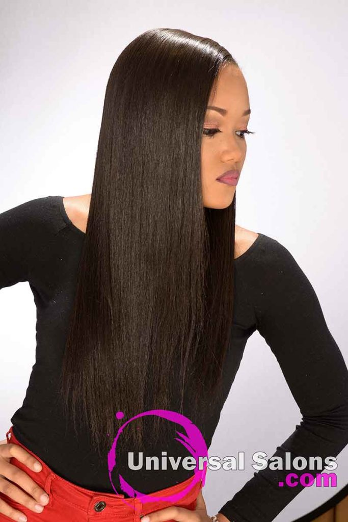 Right View Model Looking Down With Long Flowing Hairstyle