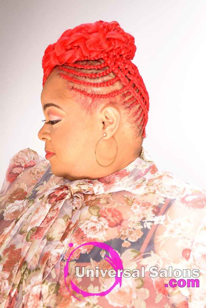Left View Trendy Basket Weave Updo Hairstyle