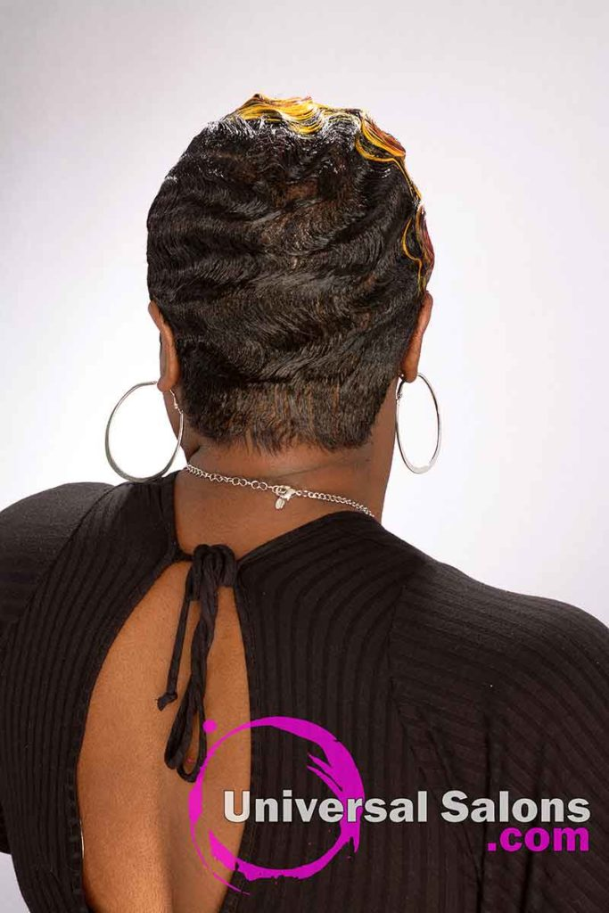 Back view Short Finger Waves on Short Hair