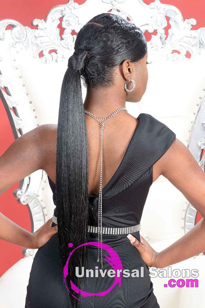 Back View of Side Part sleek Ponytail
