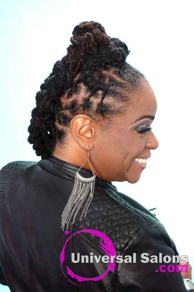 Right View: Hair Locks Model Smiling