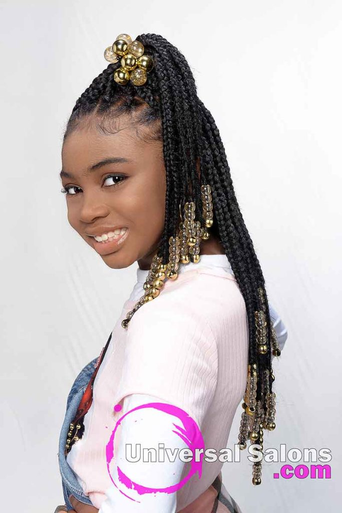 Kid's Knotless Box Braids With Beads Left View