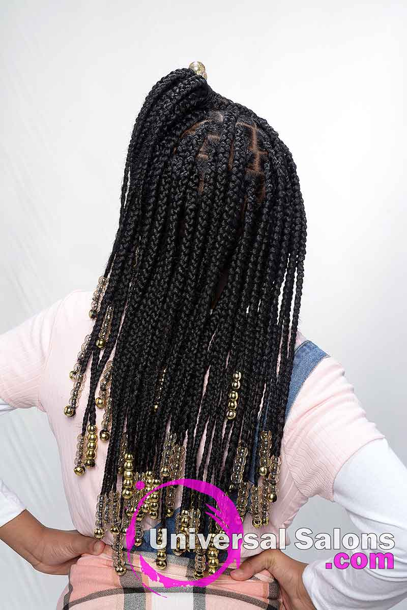 Kid's Knotless Box Braids With Beads Back View