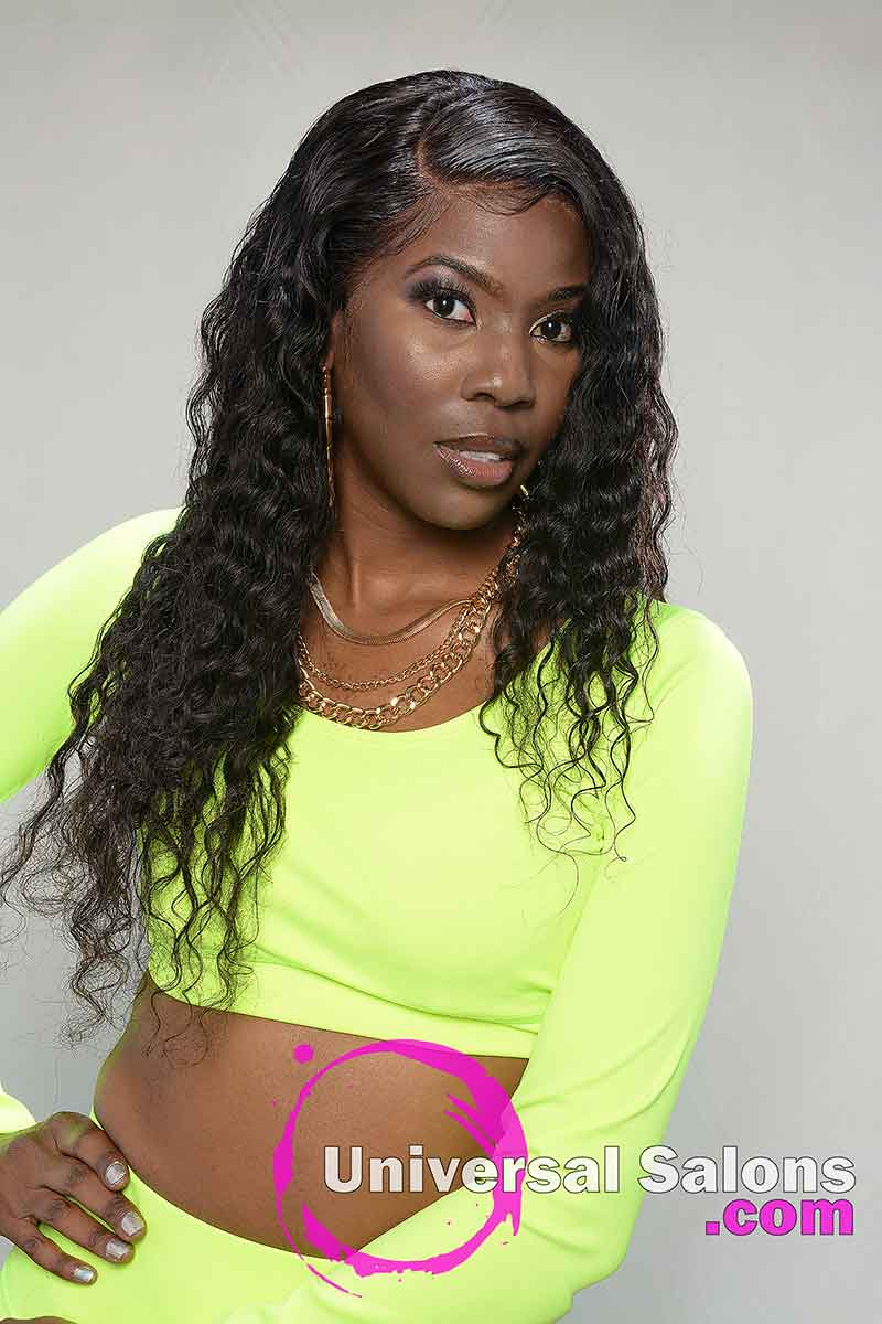Model With Hand On Hip Long Lace Frontal Wig