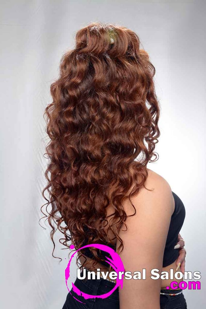 Curly Back View Microlink Hairstyle