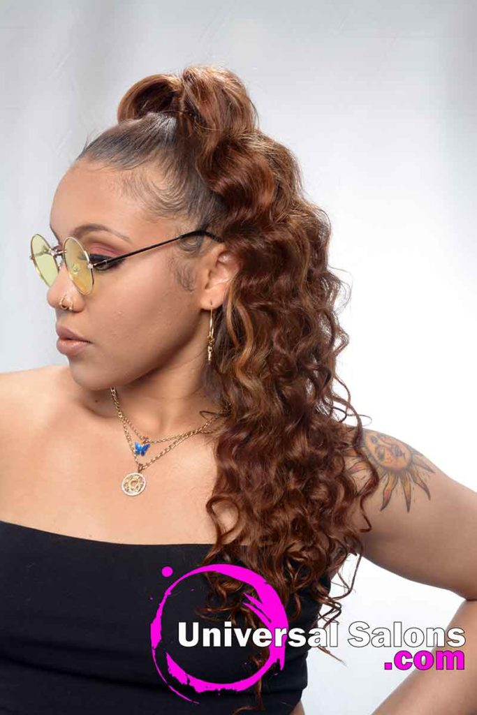 Right View Curly Long Microlinks Ponytail Hairstyle