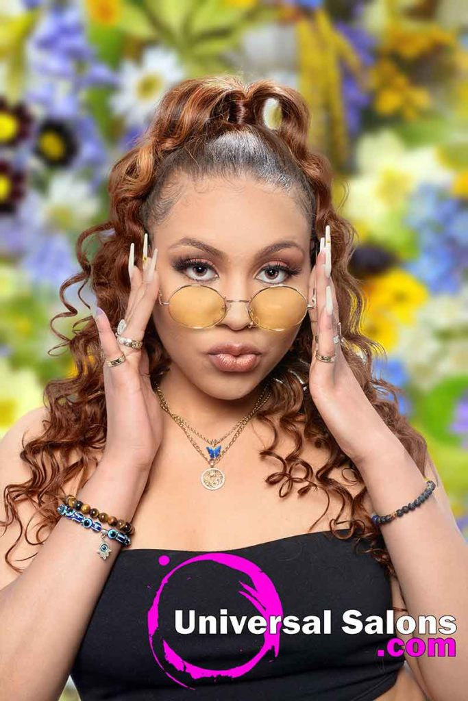 Model With Yellow Glasses and Curly Ponytail Microlinks Hairstyle