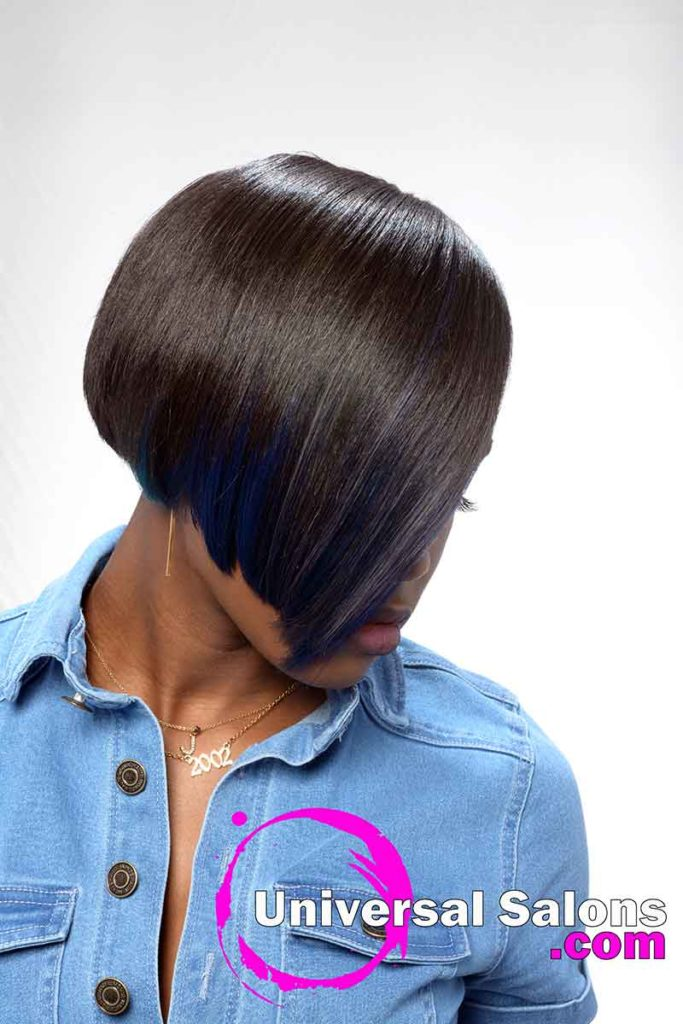 Right View silk Press With Color Hairstyle