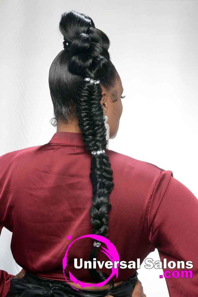 Back View Sleek Braided Ponytail