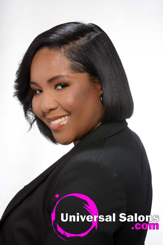 Left View Model With Asymmetrical Bob on Natural Hair