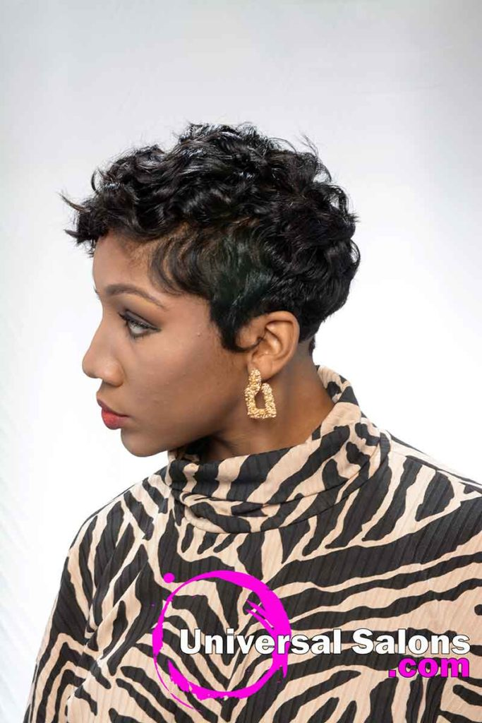 Right View Short Curly Hairstyle