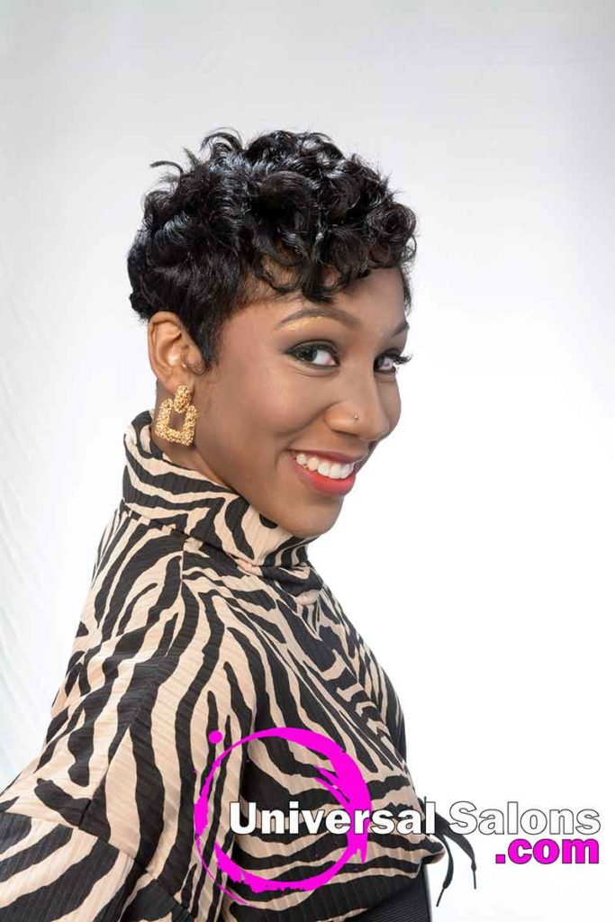 Left View Short Curly Black Hairstyle