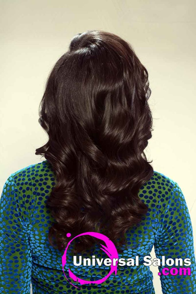 Back View Long Quick Weave Hairstyle With Soft Curls