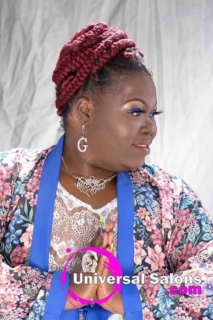 Right View Individual Casamas Braids Updo Hairstyle